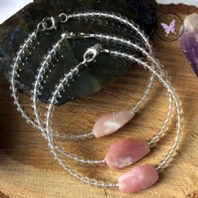Pink Opal Nugget Healing Bracelet with Clear Quartz